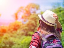 Outdoor summer lifestyle portrait of pretty young woman having fun in the jungle. stock photography
