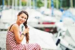 Outdoor summer portrait of a beautiful brunette woman Royalty Free Stock Photos