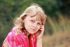 Outdoor summer portrait of Little blond girl Stock Photo