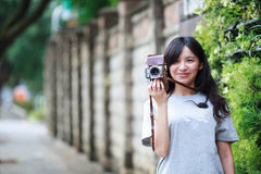 Outdoor summer portrait of young pretty cute girl Stock Images