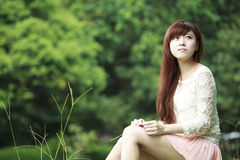 Outdoor summer portrait of young pretty cute girl Stock Photography