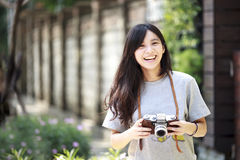 Outdoor summer portrait of young pretty cute girl Stock Image