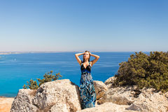 Outdoor summer portrait of young pretty woman  tropical beach, enjoy her freedom and fresh air. Stock Image