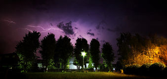 Outdoor summer storm with lightning. Stock Images