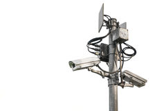 Outdoor surveillance cameras on a pole Stock Photos