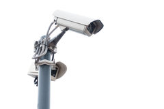Outdoor surveillance cameras on the stand Stock Image
