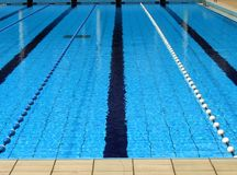 Outdoor Swimming Pool. With clearly marked lanes for competitions Stock Image