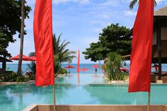Outdoor Swimming pool by the beach Royalty Free Stock Photography