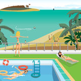 Outdoor swimming pool on the beach in the tropics. Young women bathe in the pool, sunbathe, admire the seascape. Vector cartoon flat illustration Royalty Free Stock Images