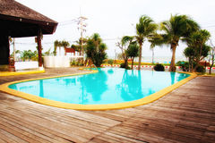 Outdoor Swimming pool. Beautiful decorate Stock Photos