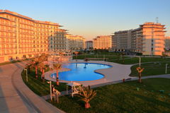 Outdoor swimming pool with clear water in Sochi Hotel Park Royalty Free Stock Photography