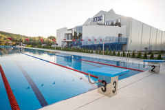 Outdoor swimming pool and covered ice palace, summer, Kranevo in Bulgaria Royalty Free Stock Photo