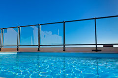 Outdoor swimming pool at the House roof Royalty Free Stock Image