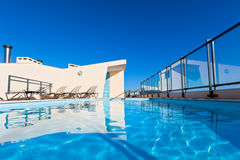 Outdoor swimming pool at the House roof Stock Photo