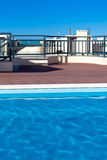 Outdoor swimming pool at a house roof Stock Image