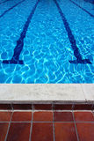 Outdoor Swimming Pool Lanes and Tiles Royalty Free Stock Photos