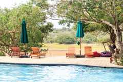 Outdoor swimming pool in luxury exotic hotel Royalty Free Stock Images