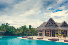Outdoor Swimming pool of luxury hotel resort near Stock Photography
