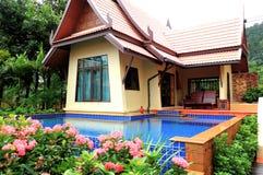 Outdoor swimming pool at the luxury villa Stock Photo