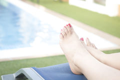 Outdoor swimming pool relaxing Royalty Free Stock Image