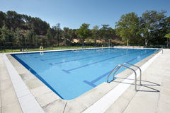 Outdoor swimming pool surrounded by trees Royalty Free Stock Photos