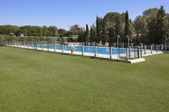 Outdoor swimming pool surrounded by trees Stock Image