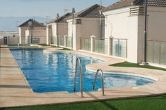 Outdoor swimming pool. On the terrace of an apartment house stock photo
