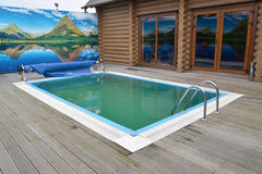 The outdoor swimming pool in the territory of a sauna. Kaliningr Royalty Free Stock Photo