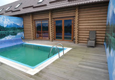 The outdoor swimming pool in the territory of a sauna. Kaliningr Royalty Free Stock Image