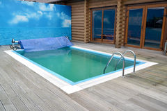 The outdoor swimming pool in the territory of a sauna. Kaliningr Royalty Free Stock Photos