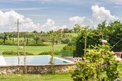 Outdoor Swimming Pool. An Outdoor Swimming Pool in Tuscany Valley (Italy Stock Photos