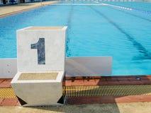 Outdoor swimming start platform Royalty Free Stock Images