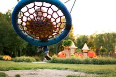 Colorful playground in the park blurred stock photos