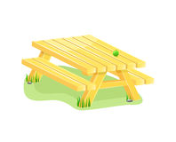 Outdoor table with bench. Illustration isolated on white background Royalty Free Stock Images