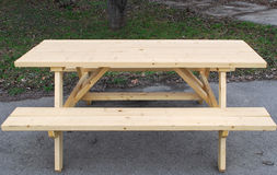 Outdoor Table with Bench Royalty Free Stock Image