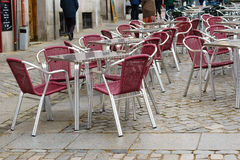 Outdoor table and chairs in Spain. Outdoor table and chairs at restaurants in Spain Stock Photography