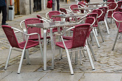 Outdoor table and chairs in Spain. Outdoor table and chairs at restaurants in Spain Royalty Free Stock Photography