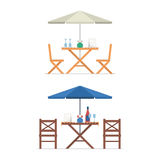 Outdoor Table and Chairs. Under parasol with menu, wine bottle and glasses. Summer street cafe terrace. City constructor elements Royalty Free Stock Photography