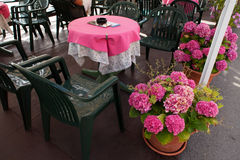 Outdoor Table And Flowers Royalty Free Stock Images