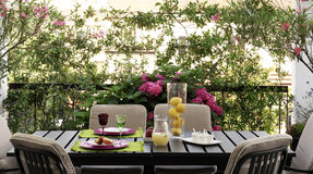 Outdoor table set Stock Photos
