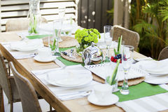 Outdoor table setting. Stylish table setting for outdoor dining Stock Photography