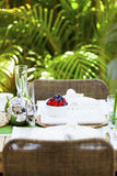 Outdoor table setting. Stylish outdoor table setting for two Stock Photos