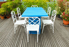 Outdoor table setting in garden Royalty Free Stock Photos