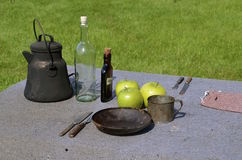 Outdoor table setting for two military officers Royalty Free Stock Image