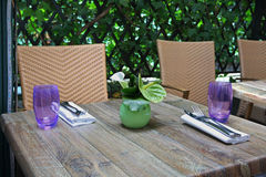 Outdoor table for two Royalty Free Stock Photography