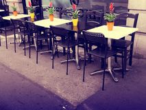 Outdoor tables in cafe
