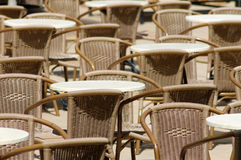 Outdoor tables and chairs Stock Photo
