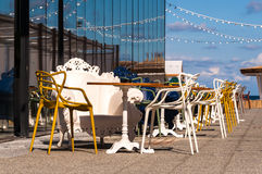 Outdoor tables at restaurant Stock Photo