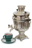 Outdoor tea drinking. Russian culture. Russian samovar, isolated on a white background, with clipping path stock images