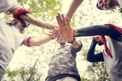 Outdoor team orienteering activity stock image
